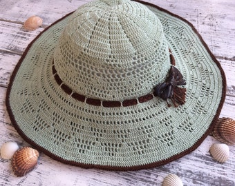 Crochet summer hat... Cotton sun hat... Handmade Crochet sun hat