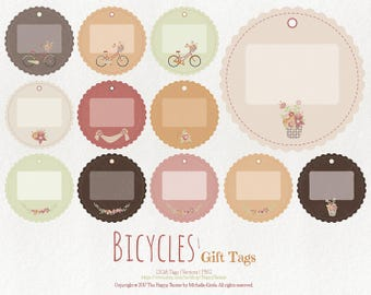 80% OFF! - Bicycles 1 Gift Tags Vector Graphics PNG Printable Flowers Floral Earth Tones Brown Tan