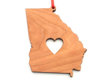 Heart Georgia Christmas Ornament - GA State Shape Ornament with Christmas Heart Cutout - Georgia Ornament Design by Heart State Shop