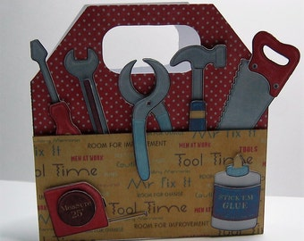 Tool box card with tools