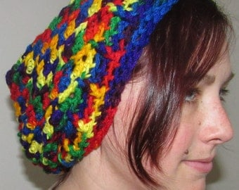 Multicolored Crocheted Slouchy Beanie