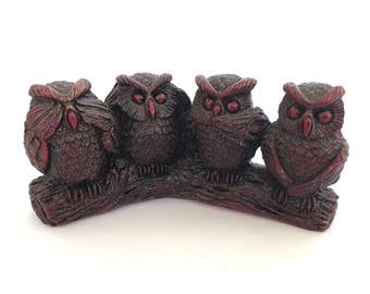 Vintage 80's Four Wise Owl Figurines See Hear Speak Think No Evil Pose on Log, Cast Resin Owl Collector