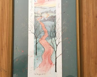 "Vintage 80's D. Dalton, ""My impossible dream isn't"" a winding road scene matted/framed lithograph print signed/dated 1989"