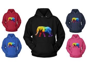 Elephant Hooded SWEATSHIRT | Elephant Gift | Elephant Print Hoodie | Boho Paisley Hoody | Elephant Sweater | Animal Activist | FREE Shipping