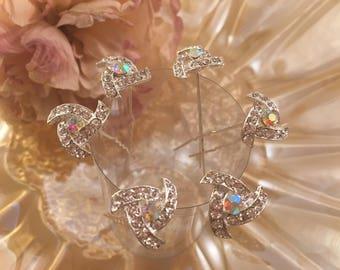 Rhinestone Hair Pin , White Wedding , Bridal , Hair Jewelry , Set of 6.