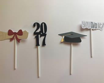Graduation cupcake toppers, High school Graduation, Graduation party Decorations, Graduation cupcake decorations, Graduation cupcake picks