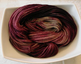 SOFTY WOOLY BULKY yarn, Natual Wool, Hand Dyed, Color - Berry-Tastic!, 137 yds