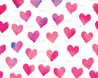 Watercolor Hearts Fabric by littlearrowdesigncompany