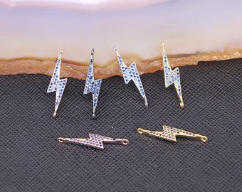 Simple Style Copper Micro Pave Cubic Zirconia Blue Stone Lightning Connector Beads
