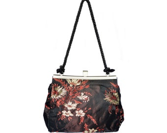 Vintage women floral black handbag purse with flowers