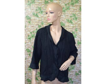 Vintage BackStage ® women blouse shirt top blazer linen black