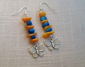 Gemstone & Butterfly Earrings