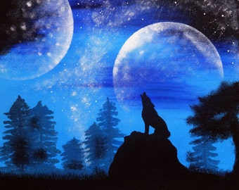 Full moon painting Wolf art Acrylic painting Space art Wall art Wolf Painting Night painting Wall decor Original art