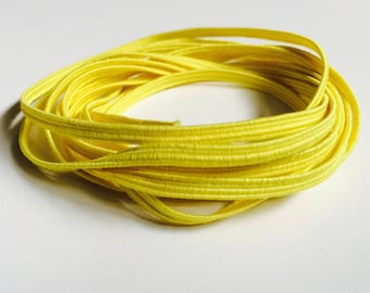 "Yellow Skinny Elastic - 1/8"" wide Colored Craft & Sewing Elastic - 3mm Thin Yellow Coloured Elastic Trim - Gentle Stretch for Baby Headband"