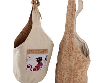 "Bag ""little kitty"" with zipper pocket, everyday companion, Cork, cotton"