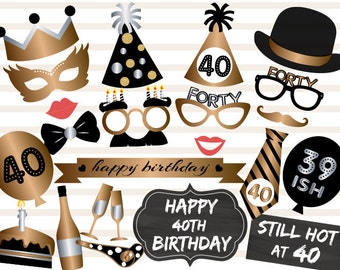Printable 40th Birthday Party Photo Booth Props, Gold Black Forty Birthday Party Photo Booth Props, Instant Download 40th Birthday Prop 0002