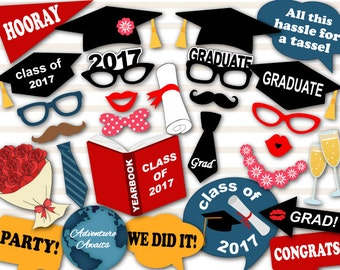 Printable 2017 Graduation Photo Booth Props, Graduation Party Photo Booth Props, Instant Download Graduation Photobooth Props 2017 grad 0167