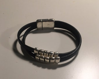 Leather and silver plate bracelet