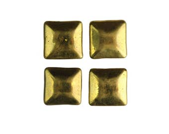 Antique brass square drawer pulls / vintage square brass small furniture knob set of four