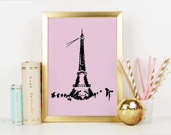Paris Print, Eiffel Tower, Paris Skyline, Wall Art Prints, City Print, Paris, Art Prints, Paris Art