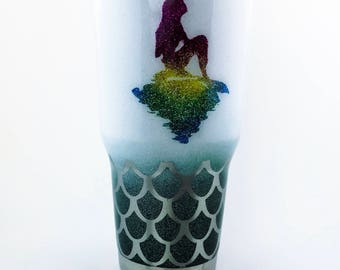 Mermaid Tumbler | mermaid YETI, mermaid tumbler, custom tumbler, glitter cups, glitter YETI cups, glitter tumbler, mermaid, mermaid rambler
