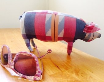 Pink and Blue Plaid Stuffed Pig