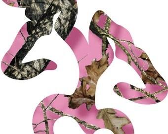 Pink Camo Buck/Doe Vinyl Sticker