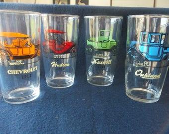 HazelWare Gay Glasses (Set of 4) - Antique Car Drinking Glasses