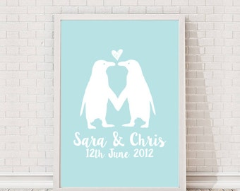Personalised Penguins In Love A4 Print / Giclee / Feature / Gallery Wall Art
