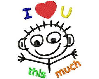 I Love You Stick Figure Embroidery Design, I Love You, Embroidery Design, Machine Embroidery, Embroidery, Love, Valentine Embroidery, Baby