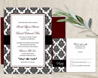 Damask Wedding Invitations RSVP Card Marsala Black White Wedding Printable Set Modern Wedding Black & White Damask Wedding Invitation Set