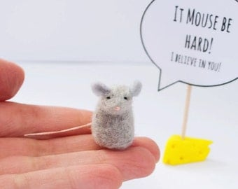 Sympathy Gift, Sympathy Card, Words of encouragement, Small gift, Felt mice, Thinking of you gift, Mouse with speech bubble