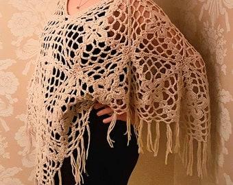 Poncho, Knit Crochet, Winter Fashion, White, Cream, Beige