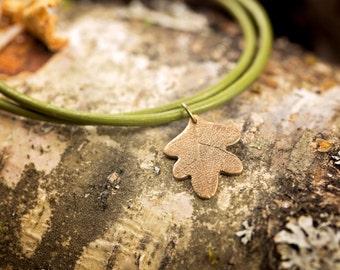 Bronze Oak Leaf Leather Bracelet