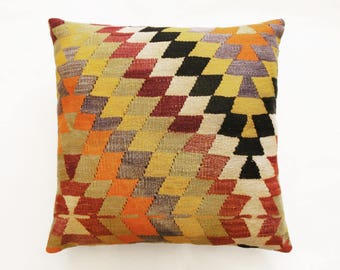 "Bis Size Kilim Pillow, Decorative Pillow, Turkish Kilim, Boho Pillow, Aztec Pillow, Red Pillow, Ikat Pillow Homedecor 60 x 60 cm / 24"" x 24"""