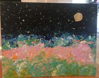 Night landscape acrylic painting