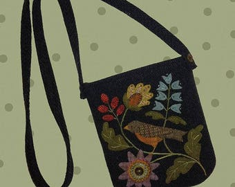 Wool Applique Pocketbook Pattern Pocketful of Posies by All Through The Night by Bonnie Sullivan 7.5 x 9 not including straps