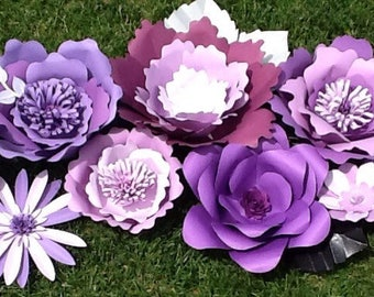 Beautiful and bright giant paper flowers in lavender and purples. #weddings #birthdays #babyshower #bridalshower