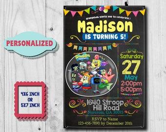Spongebob Invitation / Spongebob Birthday Invitation / Spongebob Birthday / Spongebob Invite / Spongebob Party / Patrick /Spongebob SS