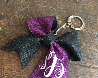Full glitter tick tock mini keychain bow with monogram