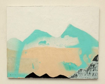 Table mountains, decorative painting, Collage, wall decor, Original paint, green and white