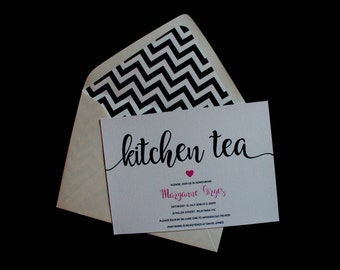 Pretty Bridal Shower Invitation - Hearts Kitchen Tea Invitation - Hen Party Invitation