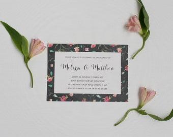 Floral Engagement Party Invitation - Engagement Invite - Engagement Invitation - Rustic Engagement Invitation - Modern Engagement Invite