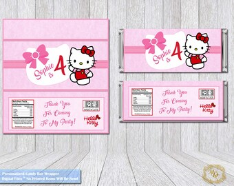 Hello Kitty candy Bar Wrapper.Custom Made hello Kitty candy Bar Wrapper.hello Kitty.Candy Bar Wrappers.Custom Made order.