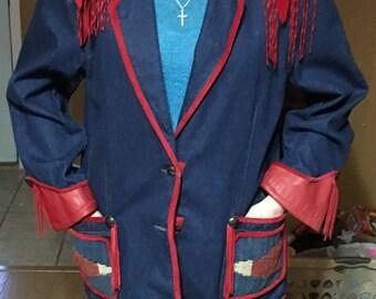 Denim Blazer with red leather trim