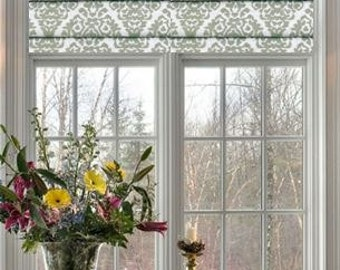 Cordless Faux Roman Shades and Valances in Sage Green and White Print.  Fully Lined, Ready to Hang!