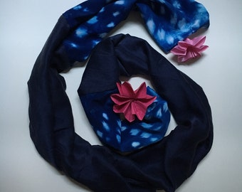 handmade navy silk scarves
