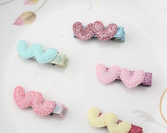 Valentine baby hair clips, glitter heart hair clips, toddler girl hair accessories, valentine hair clips for girls, baby barrettes, pink