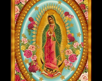 Virgin Oval turquoise Virgin of Guadalupe Our Lady of Guadalupe Virgen Mexicana Latinoamérica Virgin Panel