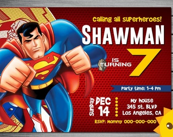 Superman invitation etsy uk superman invitation superman birthday superman party superman invites superman printables superman stopboris Choice Image